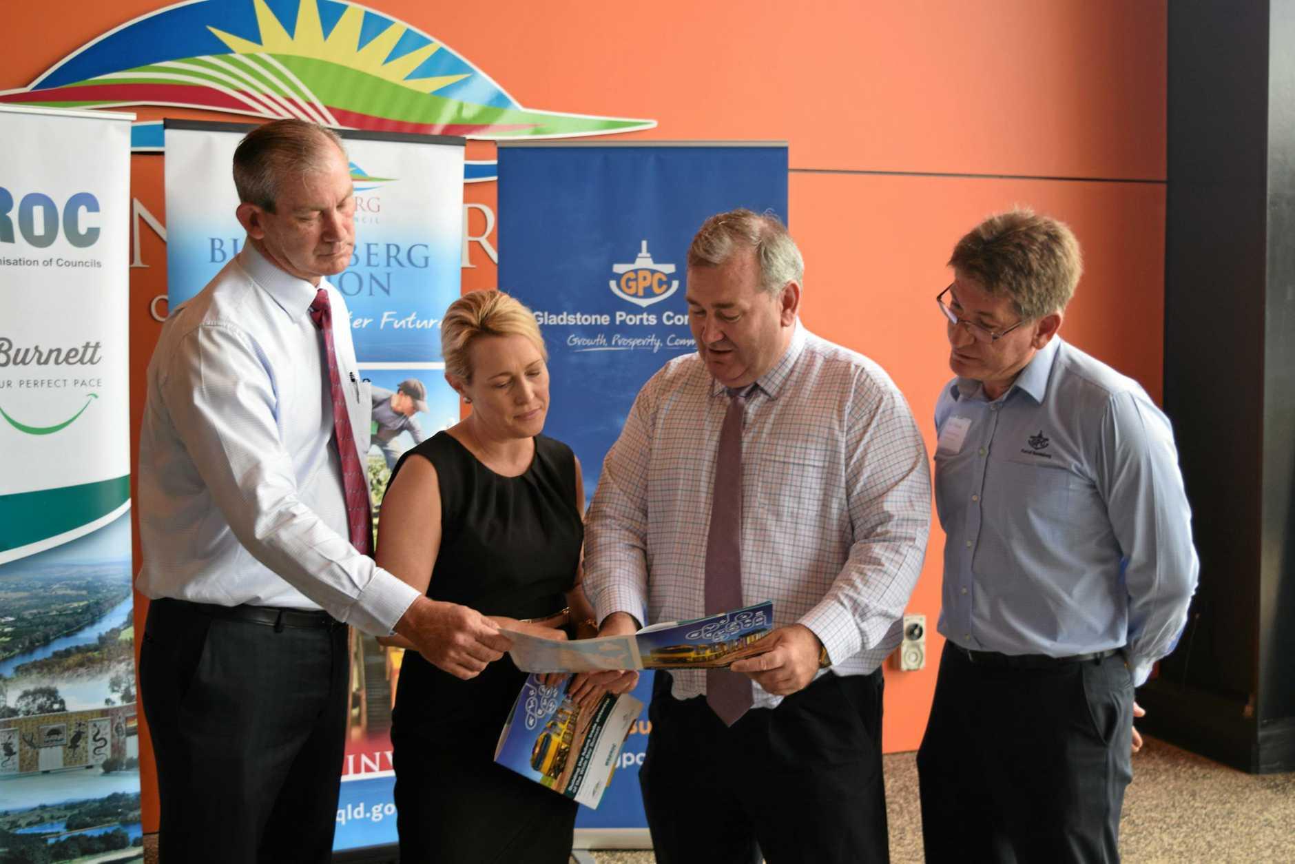 ECONOMIC FORUM: Gympie Mayor Mick Curran (Chair of WBBROC), North Burnett Mayor Rachel Chambers, Bundaberg Mayor Jack Dempsey and Manager of Bundaberg Port (GPC) Jason Pascoe.