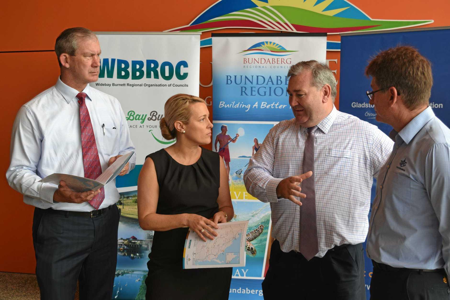ECONOMIC GROWTH FORUM: Gympie Mayor Mick Curran (Chair of WBBROC), North Burnett Mayor Rachel Chambers, Bundaberg Mayor Jack Dempsey and Manager of Bundaberg Port (GPC) Jason Pascoe.