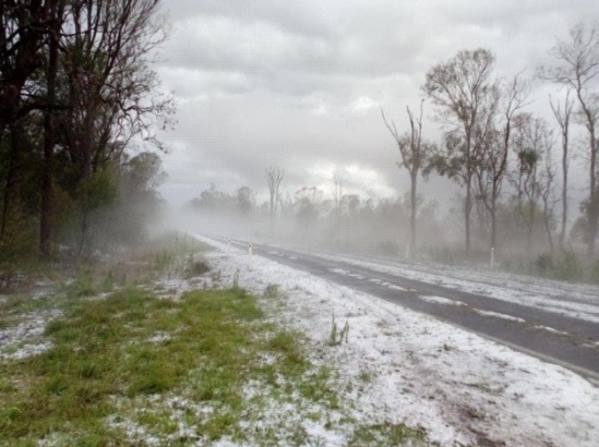 The aftermath of a hailstorm on the Burnett Highway between Kingaroy and Blackbutt this afternoon.