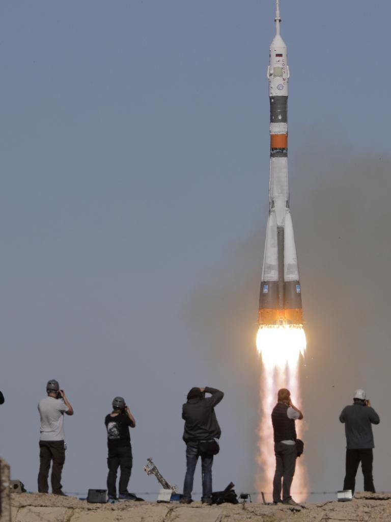 The Soyuz-FG rocket booster with Soyuz MS-10 spaceship carrying a new crew to the International Space Station, ISS, blasts off at the Russian leased Baikonur cosmodrome, Kazakhstan. Picture: AP/Dmitri Lovetsky