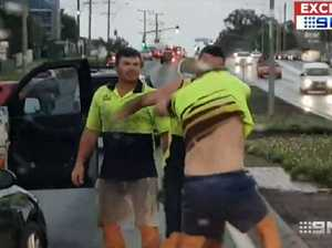 Tradies filmed in horror road rage brawl