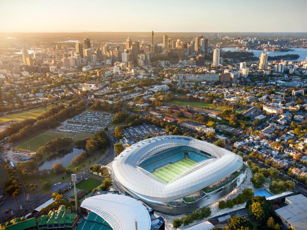 Artist's impression of the winning design for the future Sydney Football Stadium