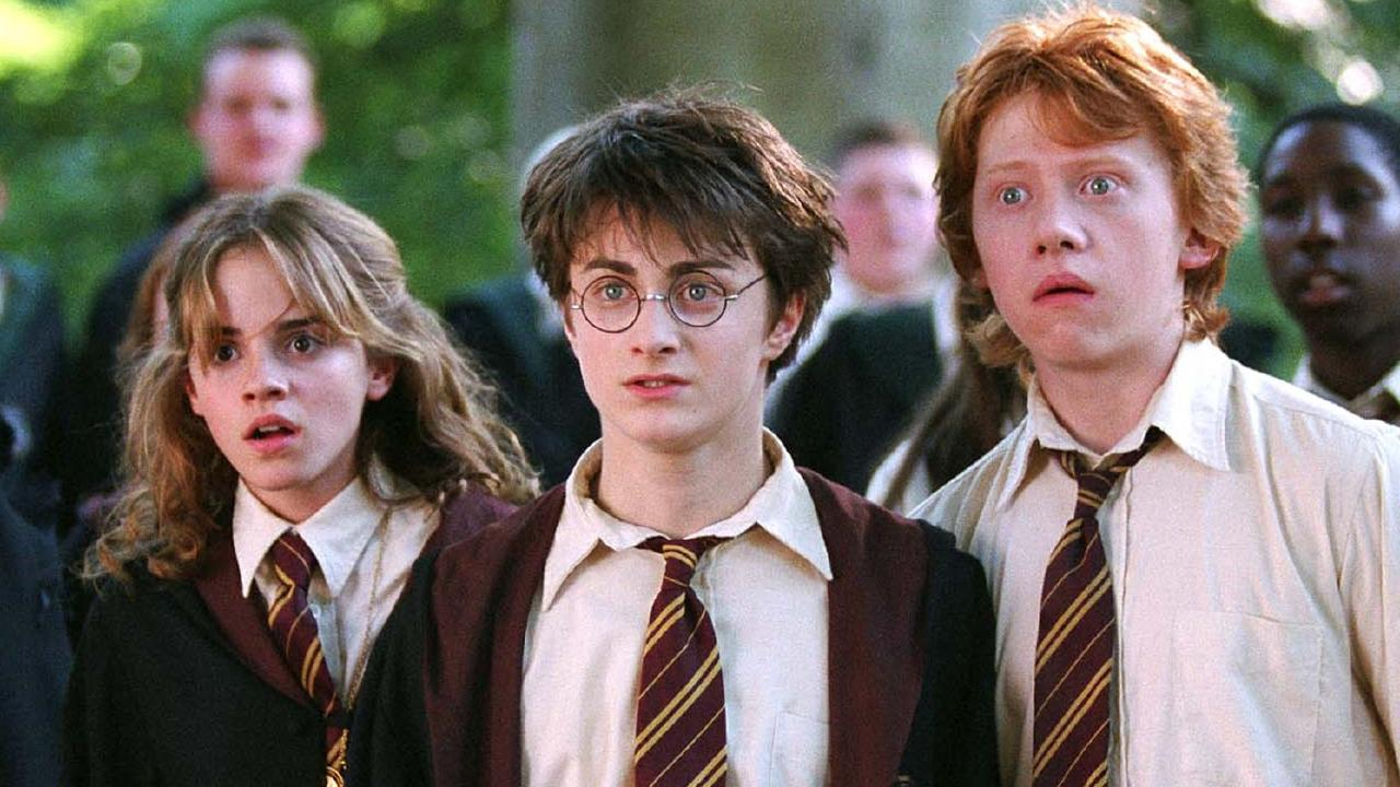 Emma Watson, Daniel Radcliffe and Rupert Grint in a scene from Harry Potter and the Prisoner of Azkaban.