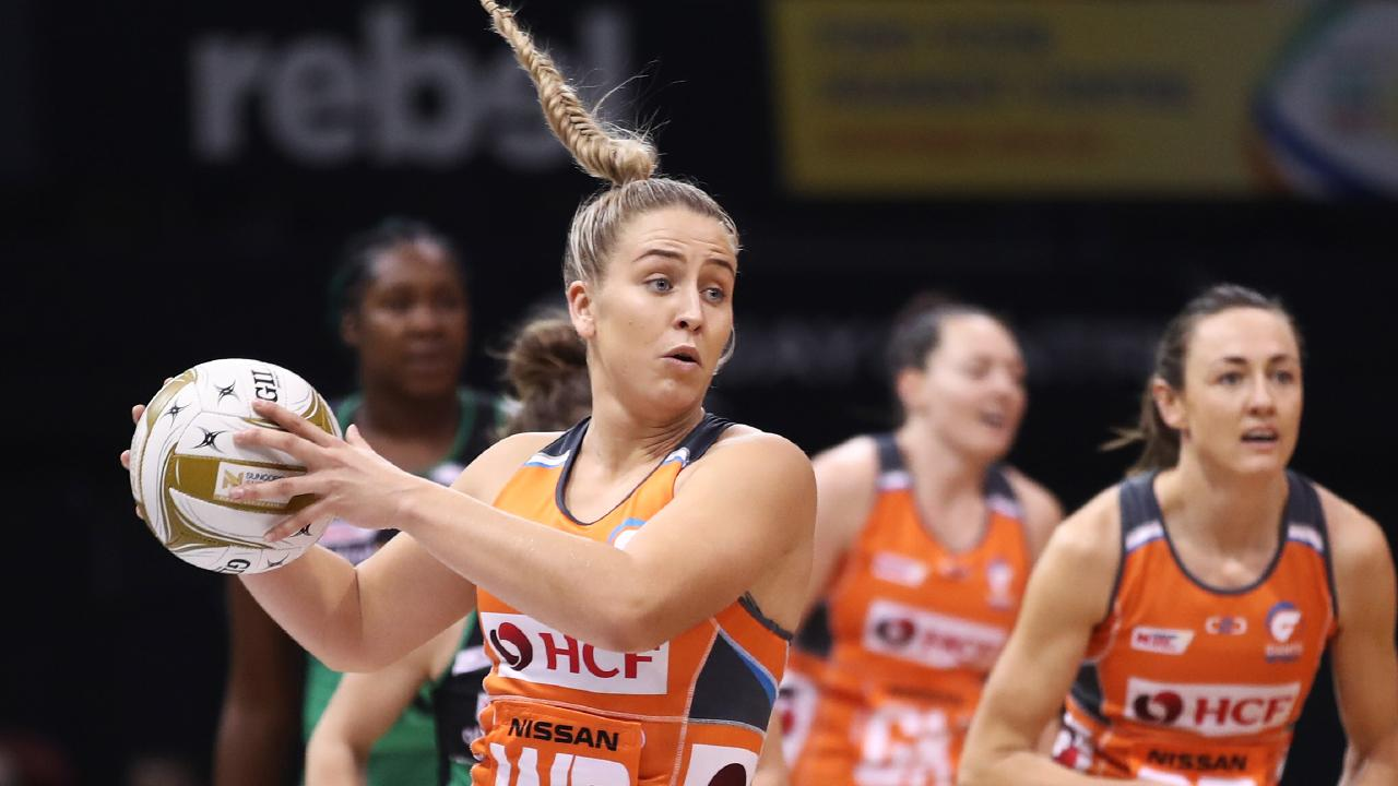 Jamie-Lee Price in full flight with the Giants. Price is hoping to make her Diamonds debut in New Zealand.