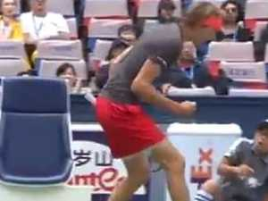 Tennis hothead terrifies ball boy