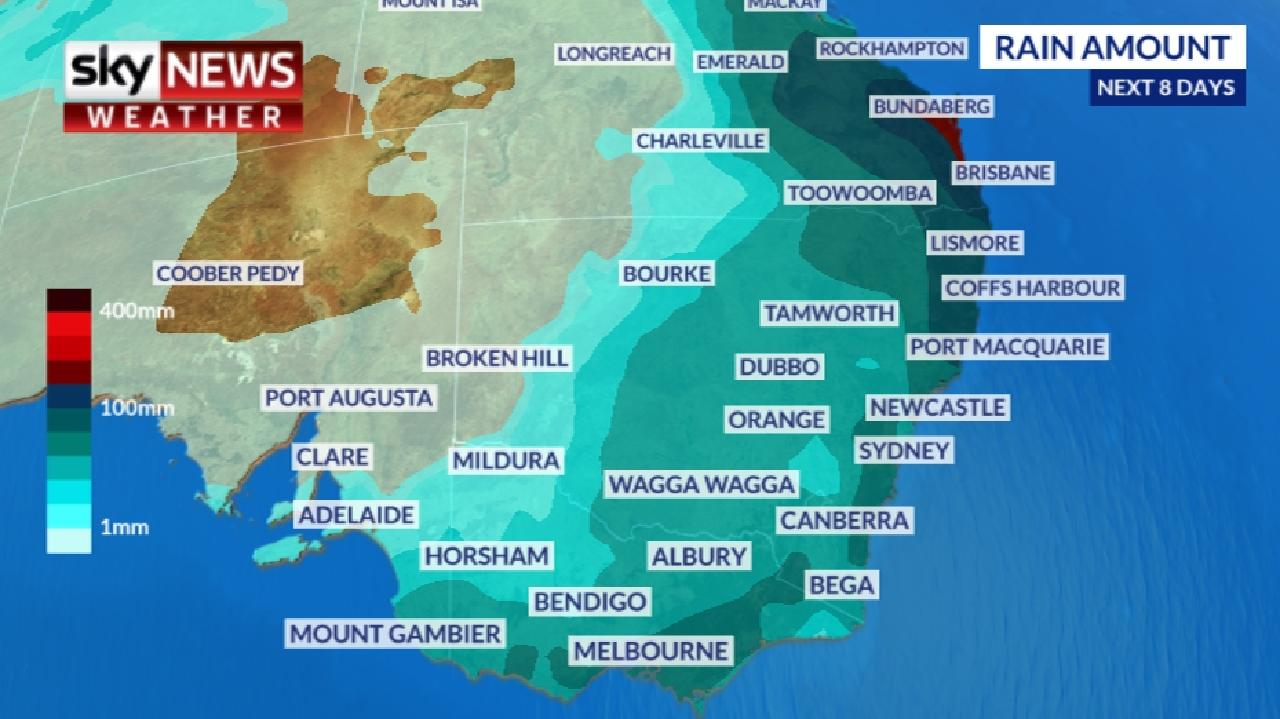 Rain is likely over much of the country during the next week, but could be particularly heavy in southern Queensland and northern NSW. Pictures: Sky News Weather