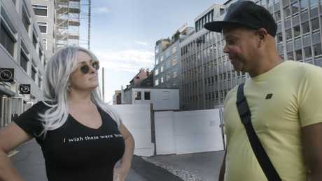 Kristen Vermilyea asking a man what he thinks about her breasts in a scene from her documentary Beyond Boobs. Picture: Supplied