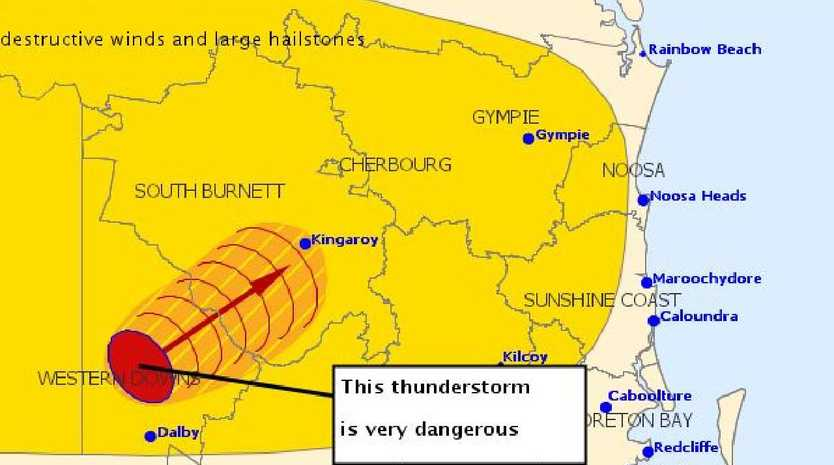 A severe thunderstorm warning has been issued for parts of the southeast corner.