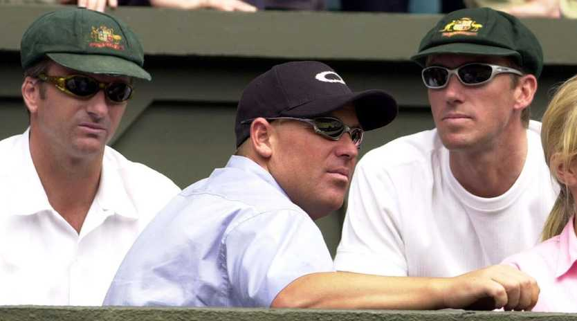 JULY 9, 2001 : L-R Steve Waugh, Shane Warne & Glenn McGrath at Wimbledon Championships 09/07/01 for men's singles final Rafter v Ivanisevic. Cricket page96JULY 9, 2001 : L-R Steve Waugh, Shane Warne & Glenn McGrath at Wimbledon Championships 09/07/01 for men's singles final Rafter v Ivanisevic. Cricket
