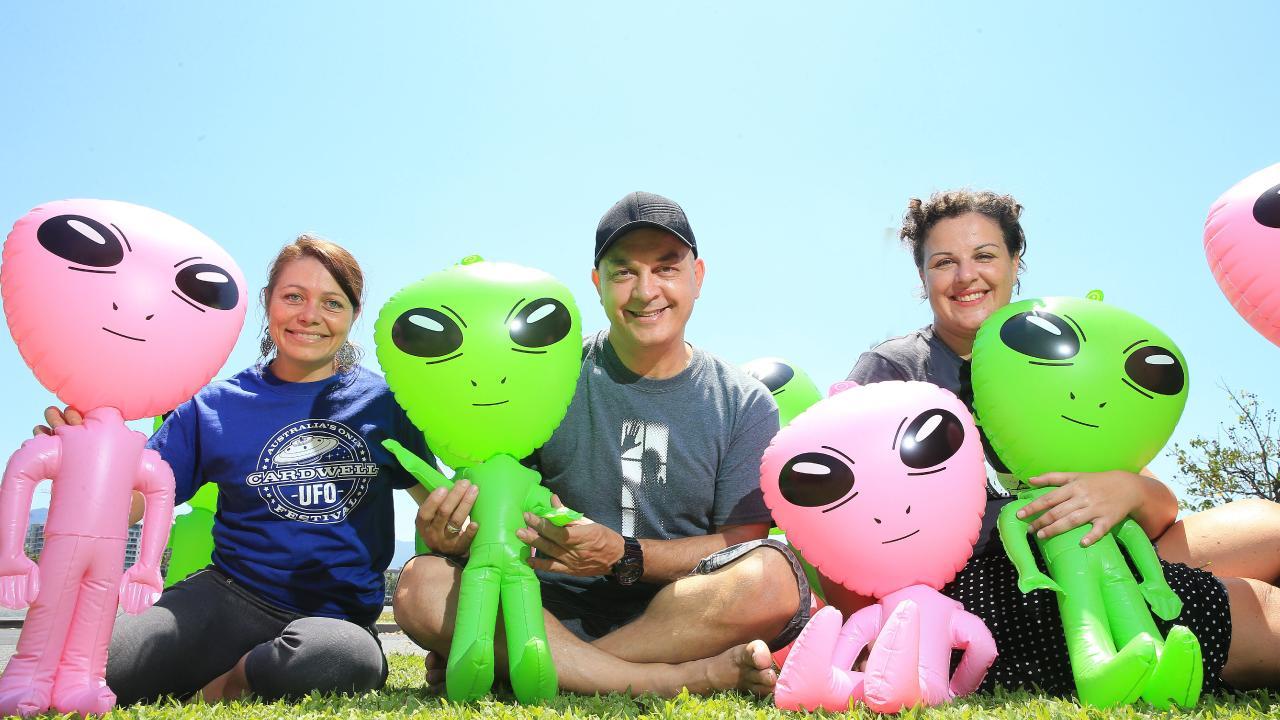 Rebecca Godfrey, Nic Zymaras, Silvia Mogorovich look forward to the Cardwell UFO Festival. PICTURE: JUSTIN BRIERTY