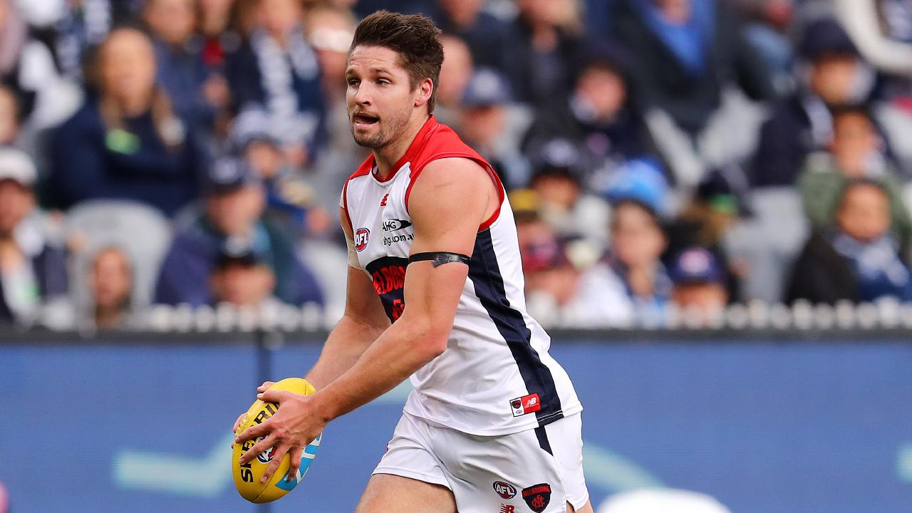 Jesse Hogan in action for Melbourne. Picture: Michael Klein
