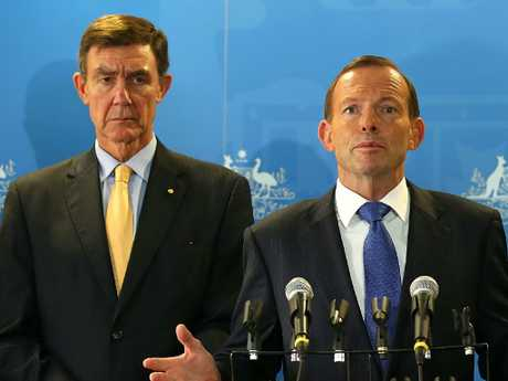 Sir Angus with former prime minister Tony Abbott.