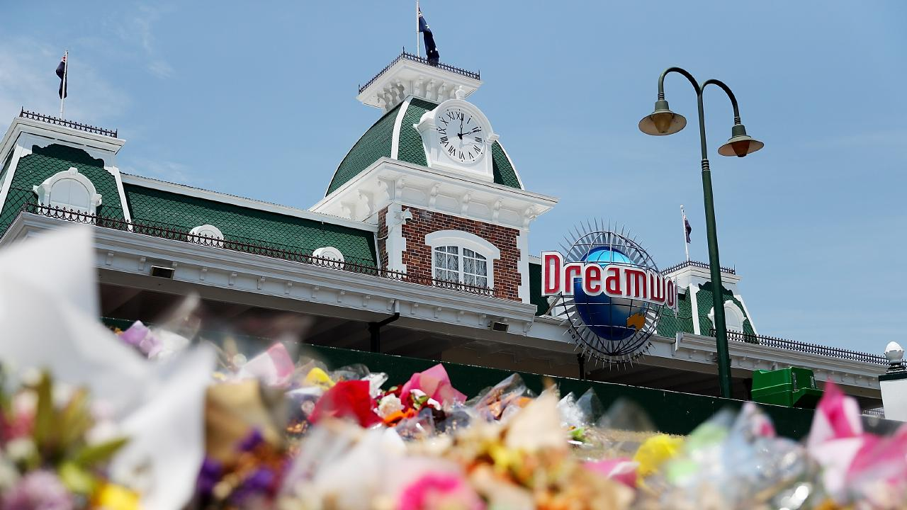 Flowers at a memorial out the front of Dreamworld in November 2016. Picture: Chris Hyde