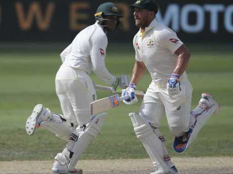 Aaron Finch and Usman Khawaja put on another healthy opening partnership for Australia. Picture: Getty