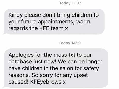 The text Kristin Fisher sent to her clients.