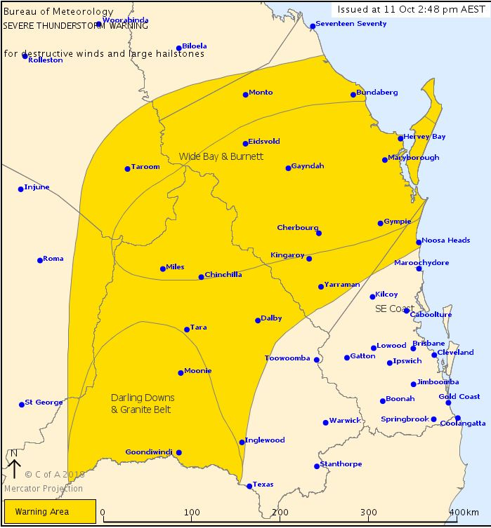 A severe thunderstorm warning has been issued for parts of Queensland.