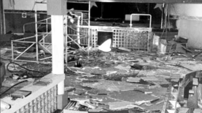 The interior of the Shark Club after the November 1989 bombing.