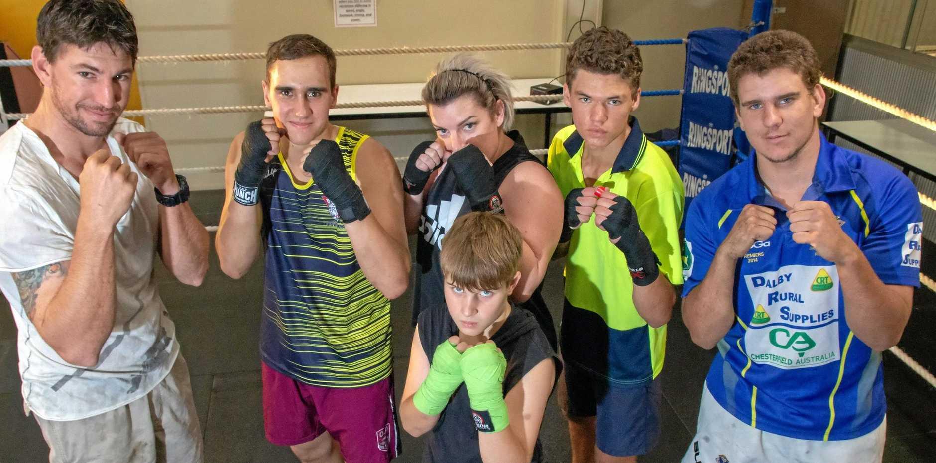 FOCUSED: Steven Tapp, Chase and Judd Alderton, Jayde Baldwin, Harry Jones and Harro Nolan are busy preparing for next week's fights.