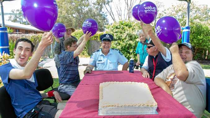PARTY: Leading Constable Dan O'Hara attended a morning tea with residents of Waminda as part of World Mental Health Day.