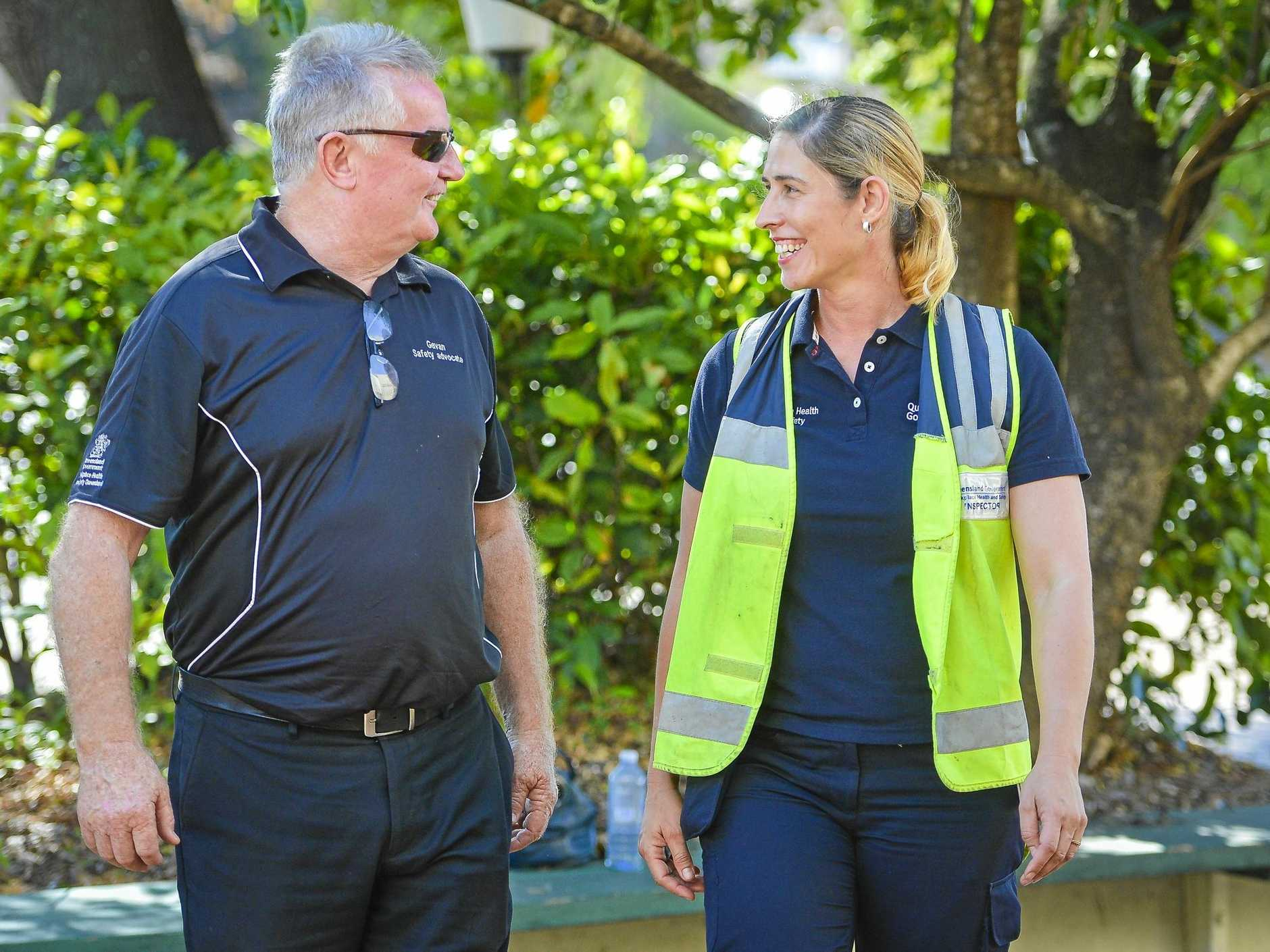 Queensland Government Workplace Health and Safety Inspector Jade Sawtell and workplace health and safety advocate Gavan McGuane in Gladstone on 11 October 2018.