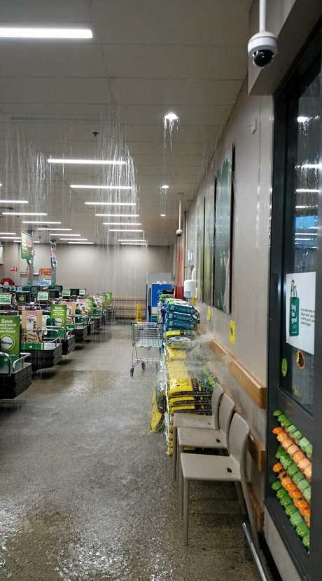 The Cooloola Cove Woolworths has closed down due to flooding from the tornado yesterday afternoon.