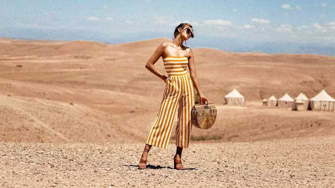 PrettyLittleThing mustard contrast stripe bandeau culotte jumpsuit, $38, prettylittlething.com.au