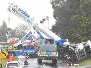 Chicken truck crash cleanup
