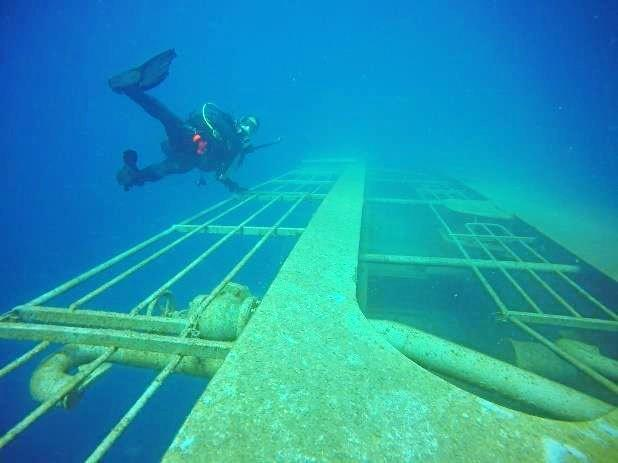 UNDER THE SEA: Photos reveal what the Tobruk looks like as she rests on the sea floor.