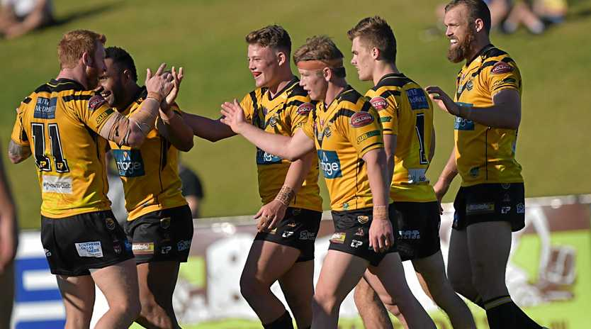 Sunshine Coast Falcons against Easts Tigers.Falcons celebrate a try.