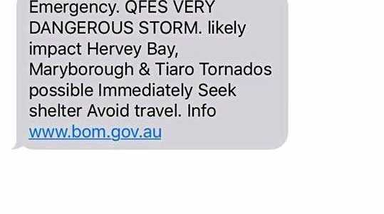ALERT: A number of Bundaberg residents received this sms alert during the wild weather on Thursday.