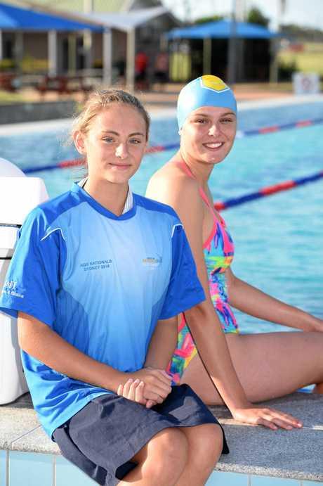 Swimming carnival - (L) Olivia Pearson and Kasey Gamble.