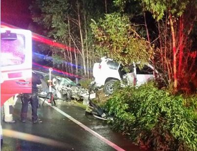 Child injured, victims trapped in D'Aguilar Highway smash.