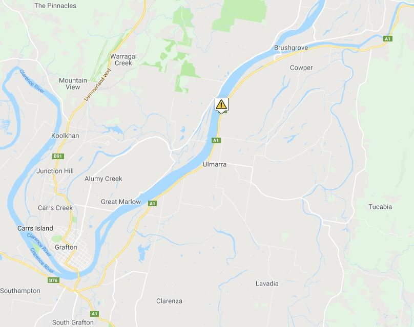 A car and motorcycle were involved in a crash near Ulmarra on Friday, 12th October, 2018.