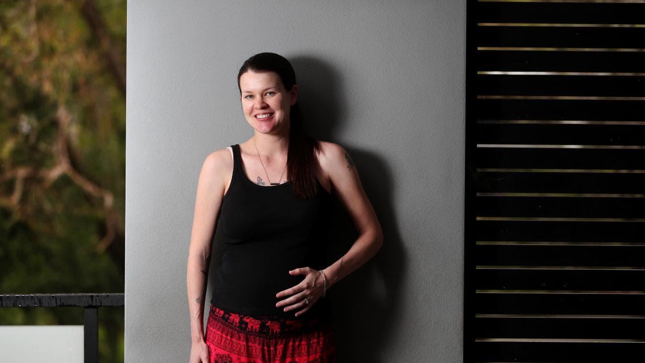 Rebecca Miles of Brisbane is pregnant in a same-sex marriage. Picture: Tara Croser
