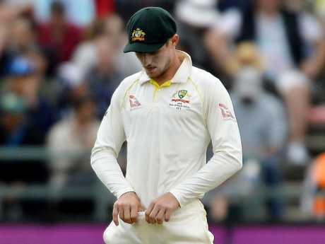 Cameron Bancroft attempts to hide a piece of sandpaper during the third Test against South Africa in Cape Town earlier this year. Picture: Getty