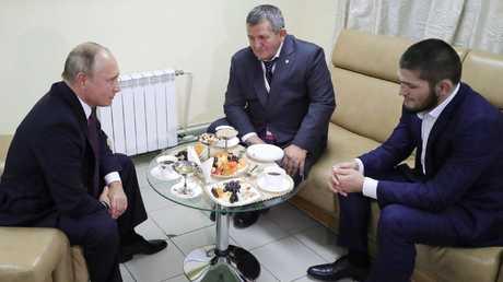 Russian President Vladimir Putin hosts Khabib Nurmagomedov. Picture: AP