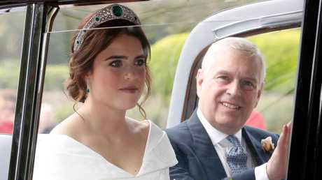 The bride with her father Prince Andrew, Duke of York, arrived together by car. Photo: Chris Jackson/Getty Images