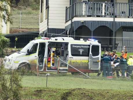 Paramedics worked on Connor for an hour before he was airlifted to Brisbane. Picture: Lachie Millard