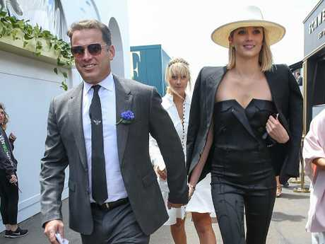 Karl Stefanovic and Jasmine Yarborough at the races. Picture: Ian Currie