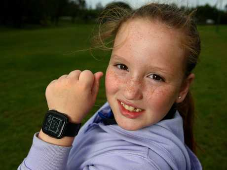 Jacinta Paris, 8, is starting young with fitness. Picture: Adam Head