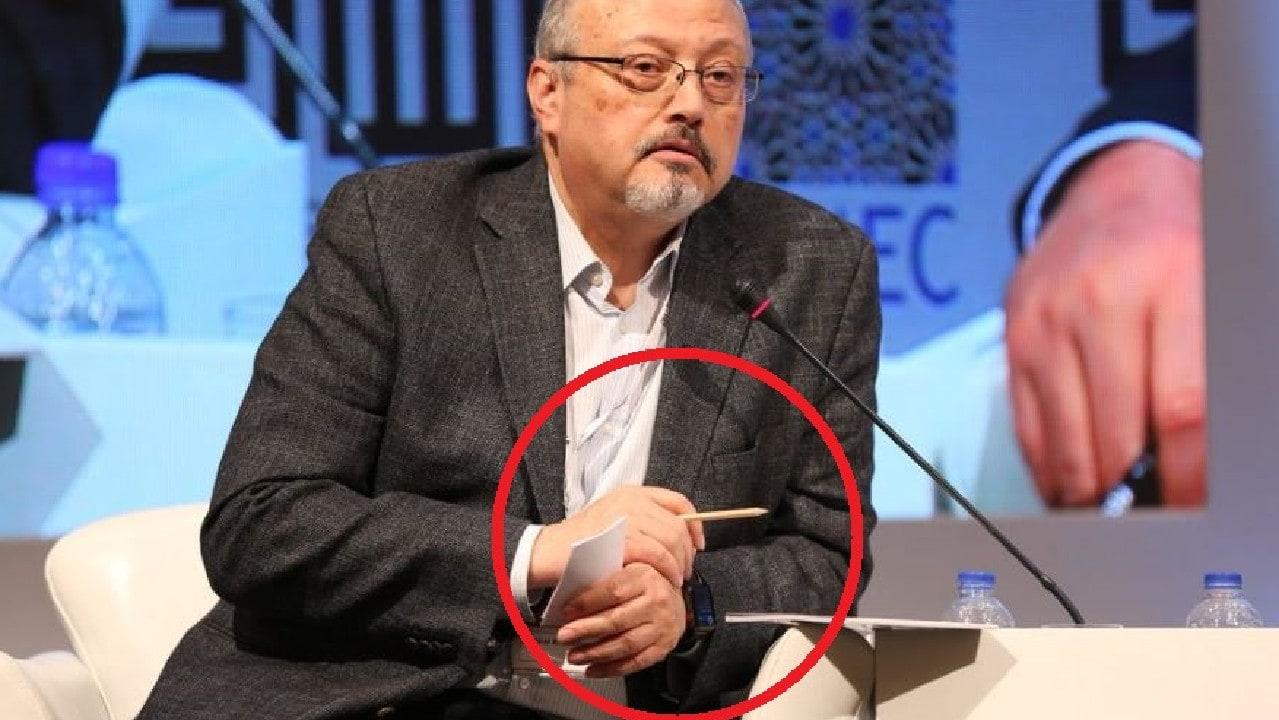 Khashoggi wearing his Apple Watch at a forum in May.