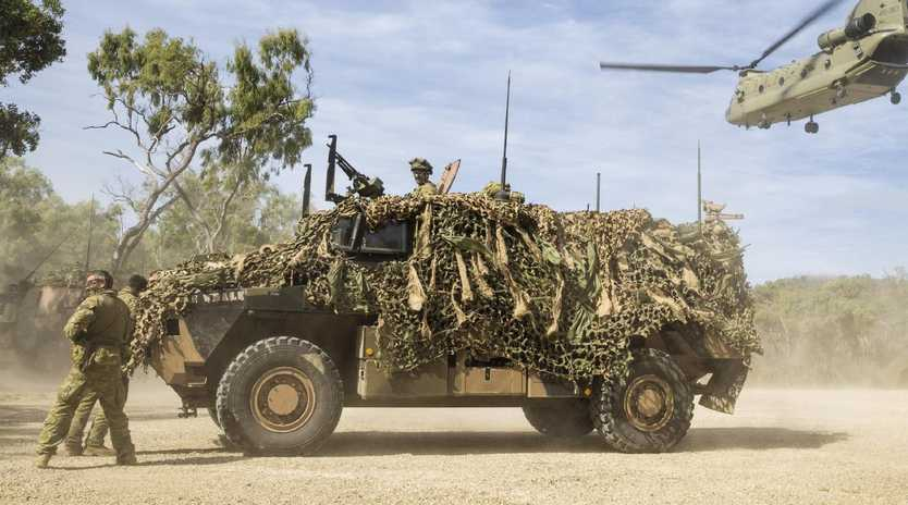 """In 2015 a Linfox worker helping to move a Bushmaster was crushed between two vehicles, causing """"dreadful injuries"""". Picture: Supplied"""