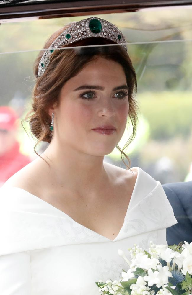 The bride Princess Eugenie of York arrives by car for her Royal wedding to Jack Brooksbank at St. George's Chapel. Picture: Getty