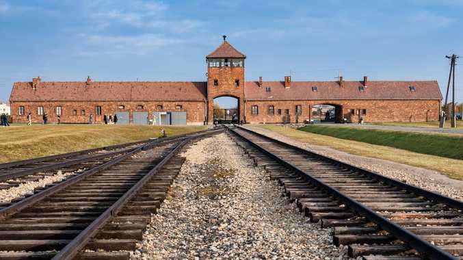 The entrance of the notorious Auschwitz II-Birkenau, a former Nazi extermination camp.