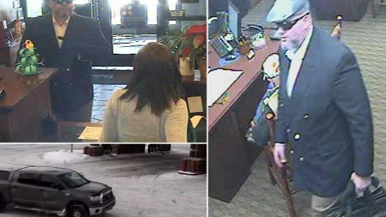 CCTV footage shows Australian man Corey Allan Donaldson carrying out a bank heist in Jackson Hole, Wyoming. Picture: Wyoming Police