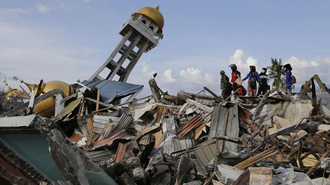 Tsunami devastation in Palu city, Indonesia. Picture: AP Photo/Aaron Favila