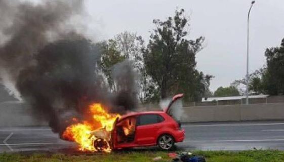 Queensland Fire and Emergency Services are responding to reports of a car on fire on the Bruce Highway.