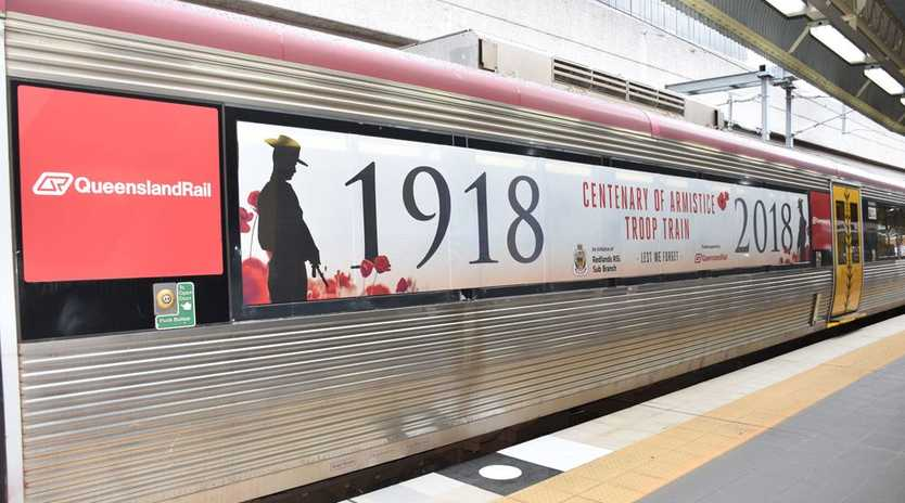 The 'Troop Train' - which will feature a specially designed wrap featuring the distinctive lone soldier and red poppy - will travel on the Queensland Rail network.