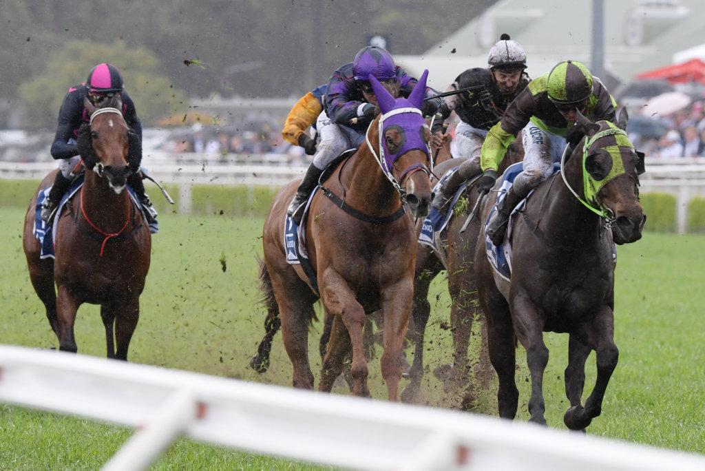 Jockey, Adam Hyeroninmus rides Belflyer to victory in race 5, The Kosciuszko during The TAB Everest race day at Royal Randwick Racecourse in Sydney, Saturday, October 13, 2018.