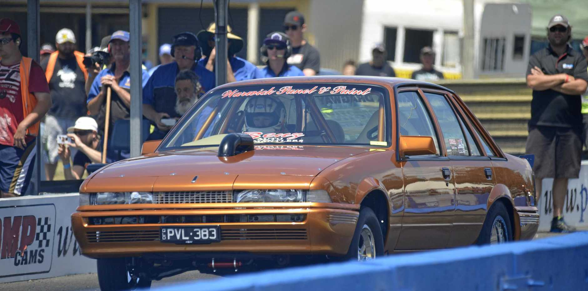 WARWICK DRIVER: Brett Benz takes off in a pass at a JP Racing Dragfest meeting and will be in action this weekend.